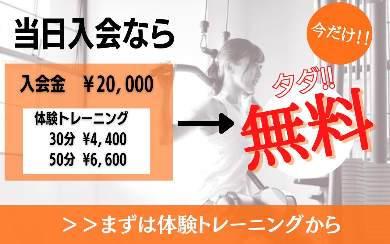 当日入会なら入会金20,000円が無料。さらに、体験トレーニングも無料になります。まずは体験トレーのングから。